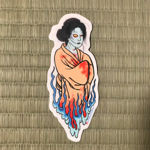 Yūrei die-cut sticker  by small Paul tattoo
