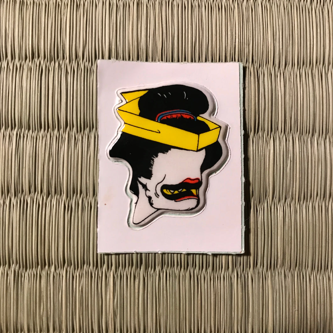 Vintage 80's Yokai sticker - ohagurubettari the nothing but blackened teeth