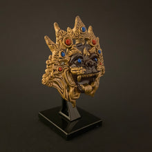 Load image into Gallery viewer, myanmarese ramayana miniature mask with a stand