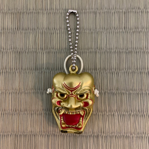Kojin the fierce god noh mask keychain