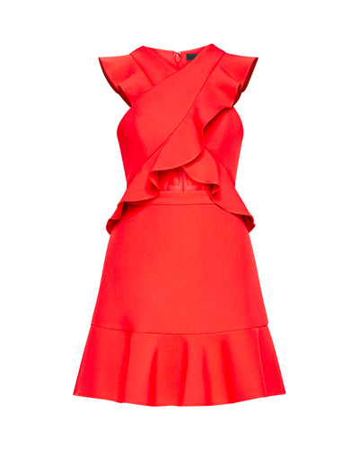 BCBG Careen Ruffled Cutout Dress