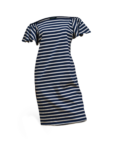 Ralph Lauren Striped Off-the-Shoulder Dress