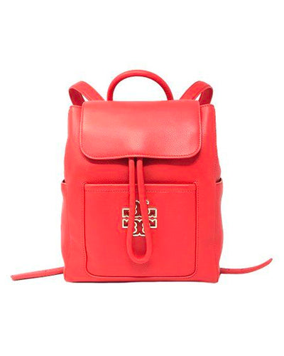 Tory Burch Poppy Red Britten Leather Backpack
