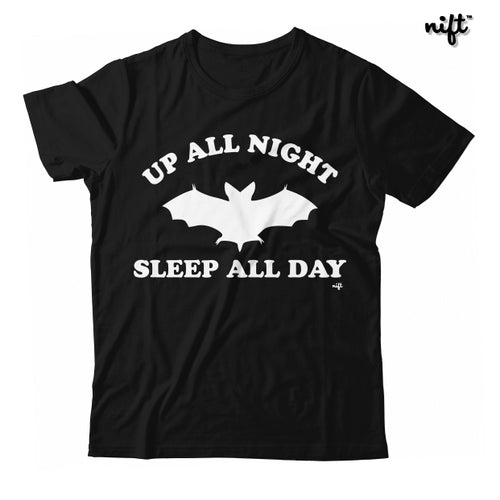 Up All Night Sleep All Day Halloween Bat UNISEX T-shirt by NIFTshirts