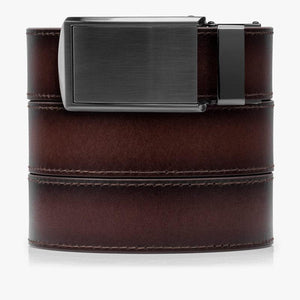 Mahogany Premium Full Grain Leather Belt-Gunmetal Belt Buckle