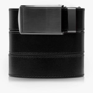 Onyx Black Full Grain Leather Belt-Gunmetal Belt Buckle