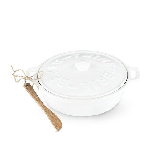 CERAMIC BRIE BAKER & ACACIA WOOD SPREADER SET BY TWINE®
