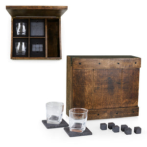 WHISKEY BOX GIFT SET, (OAK WOOD)