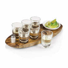 Load image into Gallery viewer, CANTINERO SHOT GLASS SERVING SET, (ACACIA WOOD)