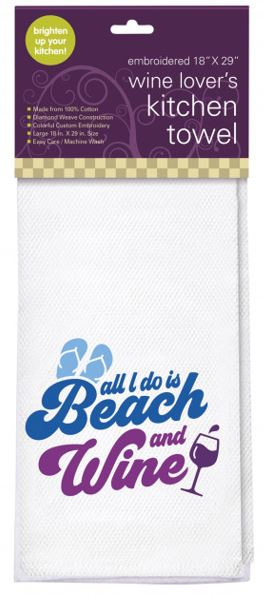 Beach and Wine Embroidered Kitchen Towel