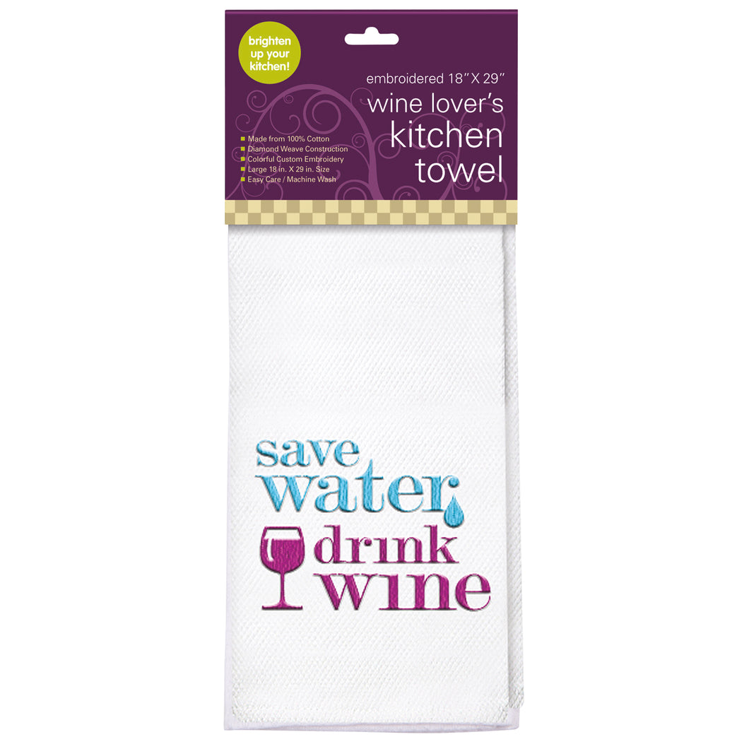 Save Water Embroidered Kitchen Towel