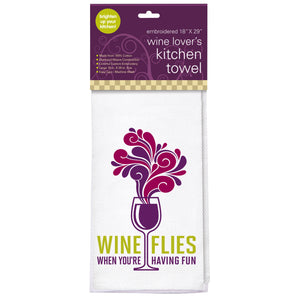 Wine Flies Embroidered Kitchen Towel