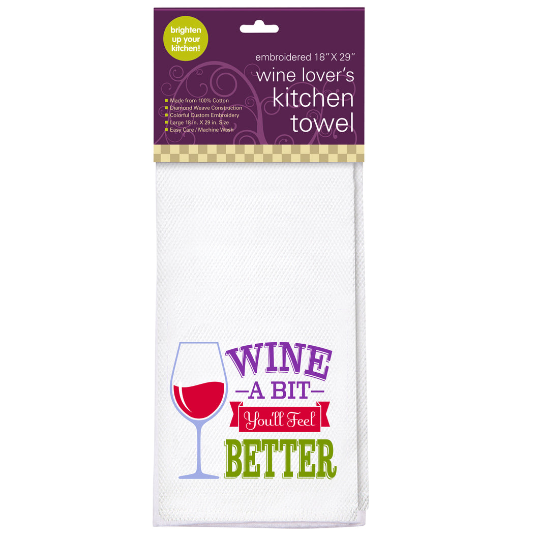 Wine A Bit Embroidered Kitchen Towel