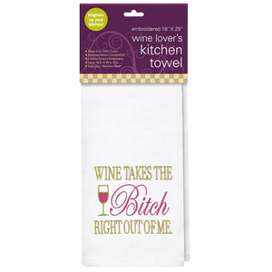 WINE TAKES THE BITCH Embroidered Kitchen Towel
