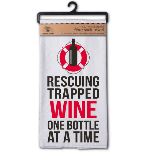 Rescuing Trapped Wine One Bottle At A Time Flour Sack Kitchen Towel