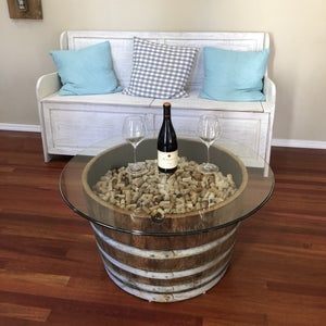 Wine barrel coffee table in living room