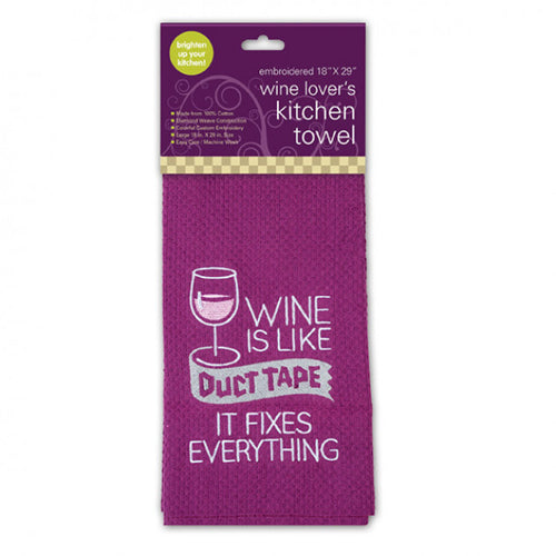 Wine is Like Duct Tape Embroidered Kitchen Towel
