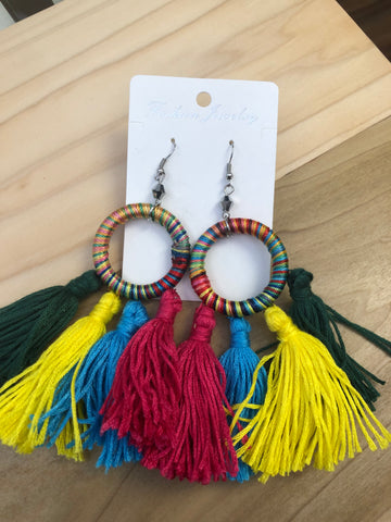 Multi-colored thread/tassel earrings