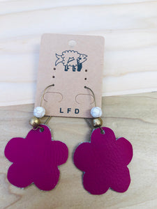 Leather floral with beads earrings