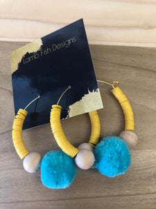 Yellow bead/Turqouise pom hoops