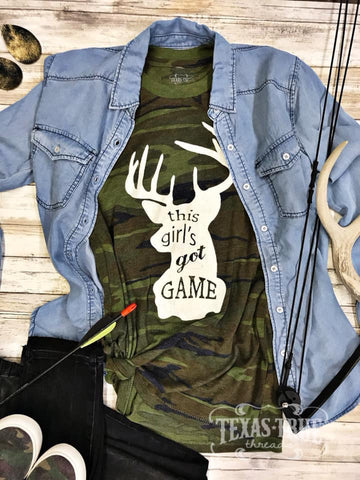 """This Girl's Got Game"" —Deer Camo Tee"