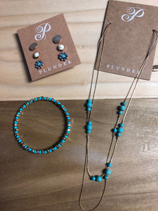 Turquoise/Gold Plunder Set —Necklace/Earrings/Bracelet