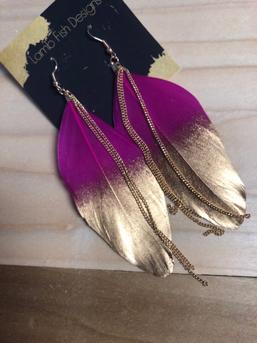 Magenta/Gold Feather earrings