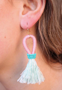 Two-toned thread wrapped teardrop with silk tassel -Mint