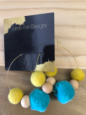 Wood bead and Pom-Pom hoops