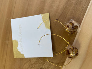 LambFish- Gold hoops with leopard Pom accent