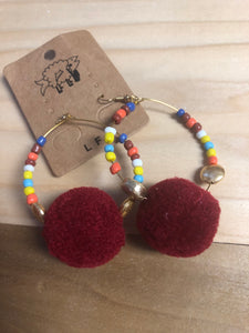Bead and Pom Earrings