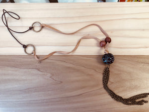 Wooden bead and chain necklace