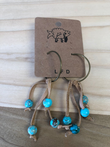Leather/turquoise dangles