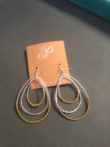 Plunder - gold/silver wire teardrop earrings