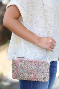 Sequin Embroidered Clutch -w/ crossbody strap