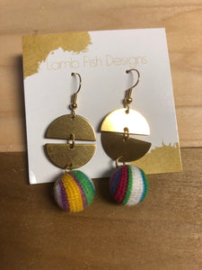 Gold Disc Earrings with Multi-Yarn Drop accents