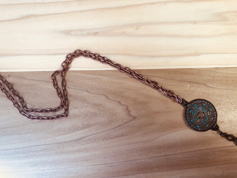 Copper chain w/ disk pendant