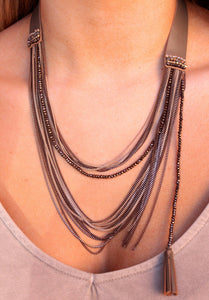 Leather strap w/ multi layer chains and bead/tassel -brown