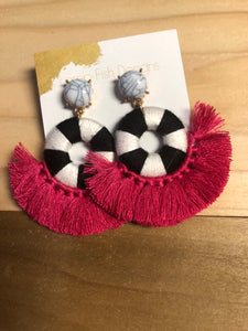 Black/White Disc with Fuchsia Fringe Earrings
