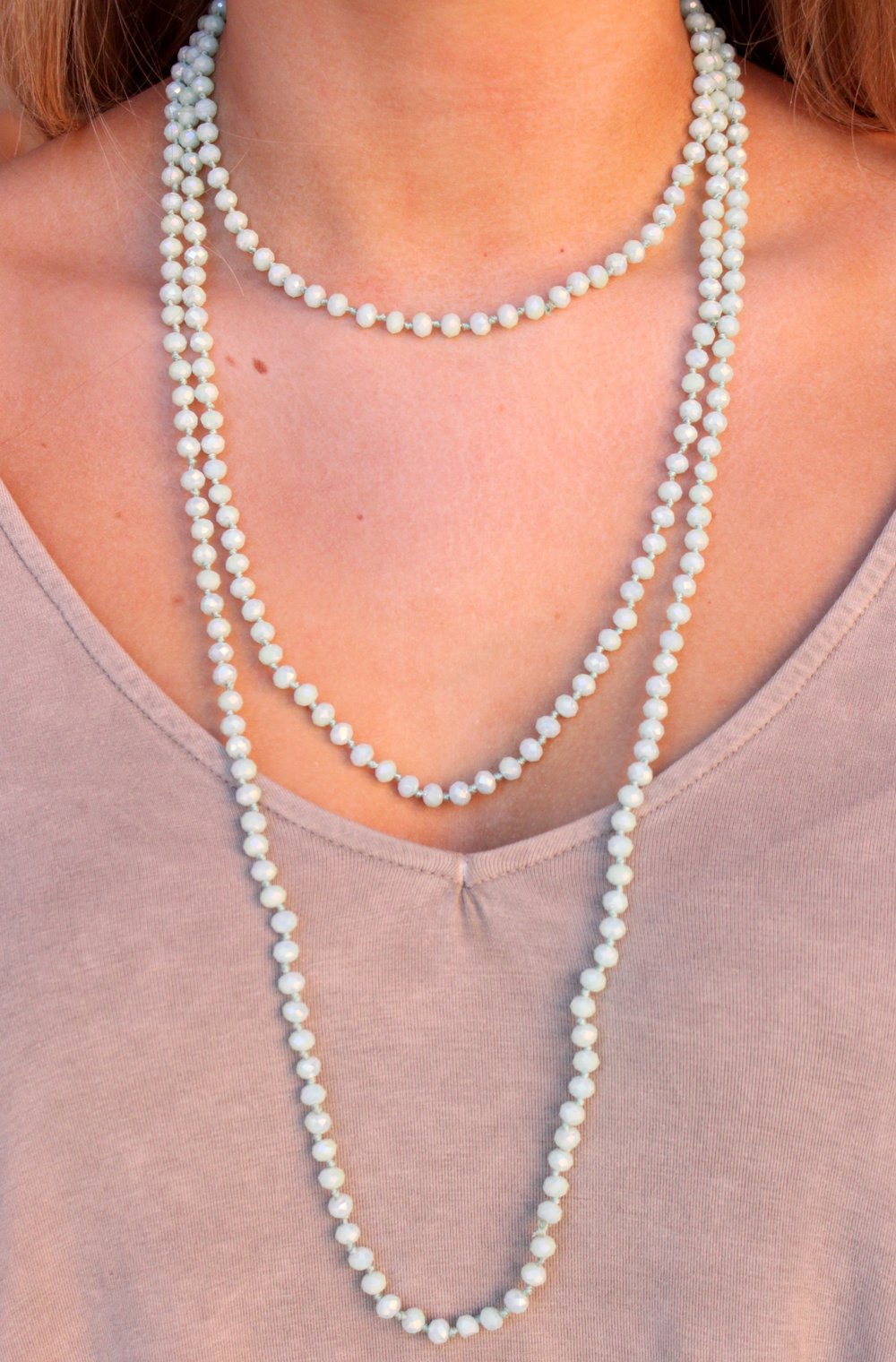 80 inch hand-knotted beaded necklace