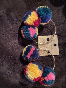 Hoop earrings w/ large multi-colored Poms