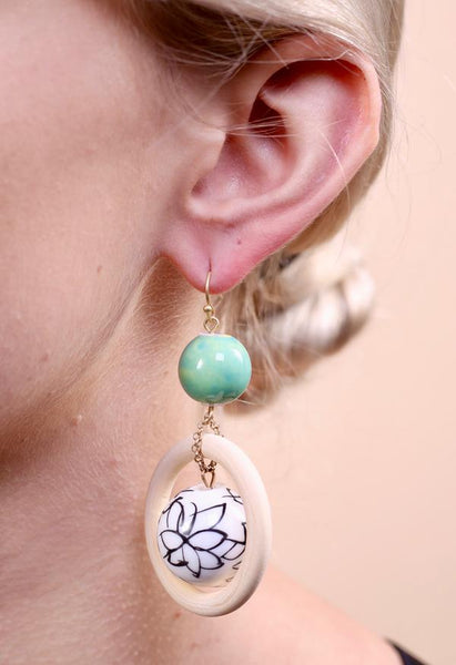 Painted bead and wood ring earrings