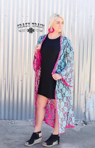 Kyra Jo Reversible Duster (turquoise/pink)