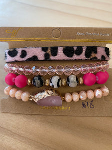 Pink leopard/druzy/beaded bracelet set