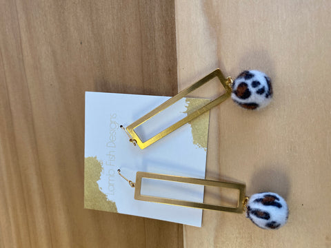 LambFish- Rectangle Drop earrings w/ Leopard poms