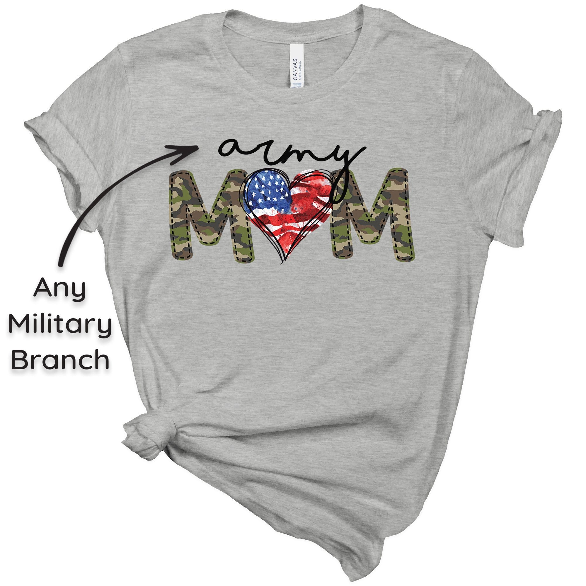 Tshirt XS / Heather Grey Camo Military Mom Tee