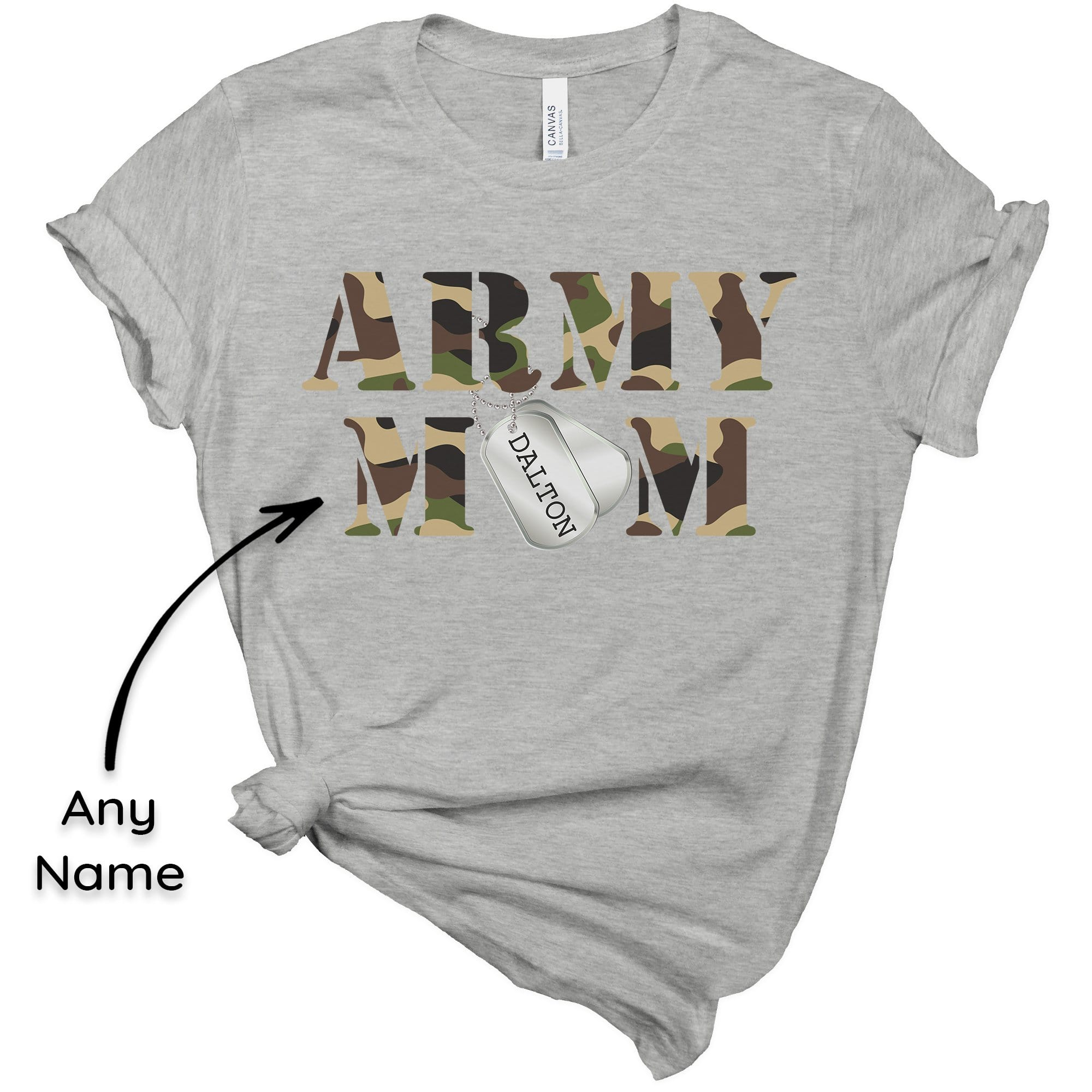 Tshirt XS / Heather Grey Army Mom Tee - Dog Tags