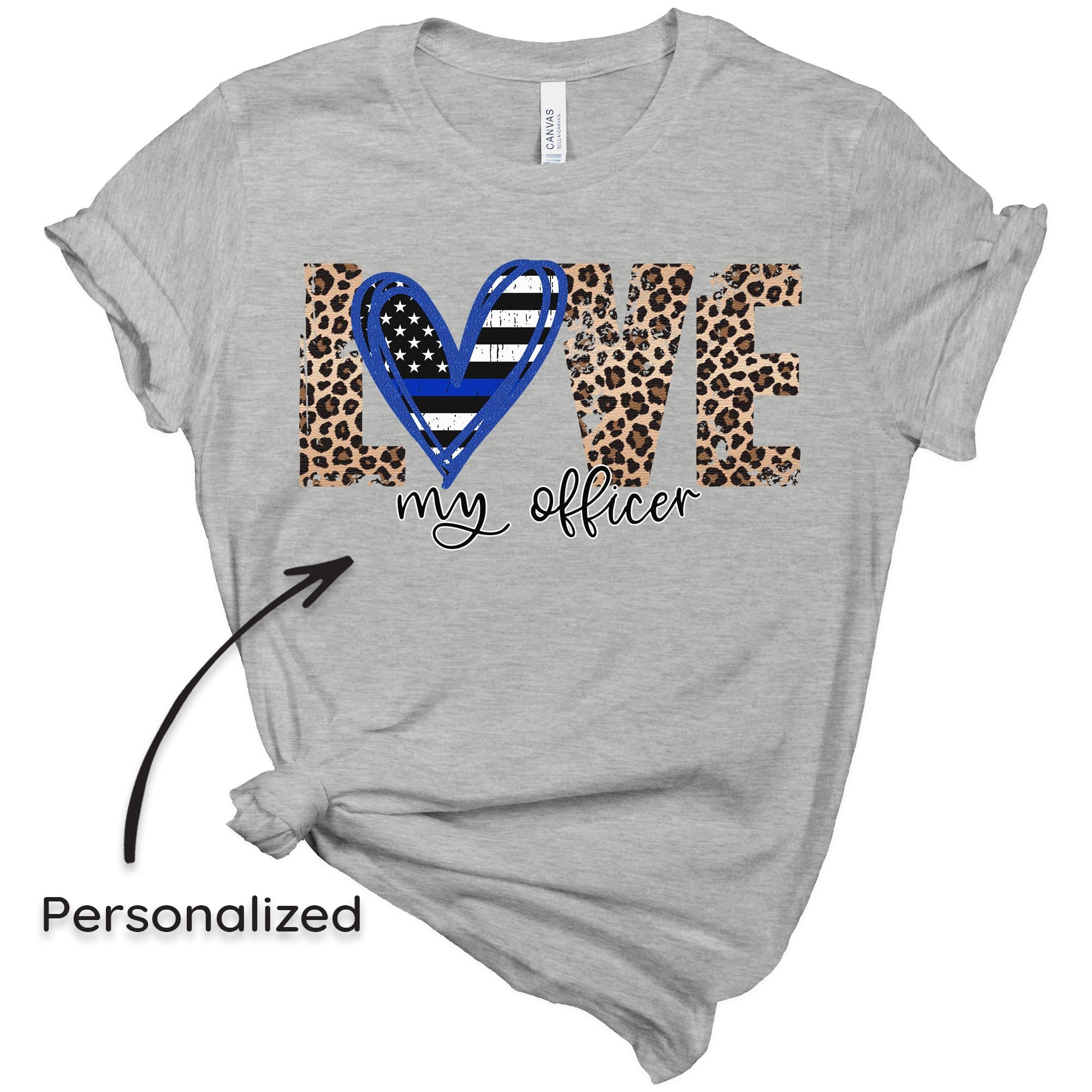 Tshirt XS / Heather Grey Back The Blue - Love My *Blank*