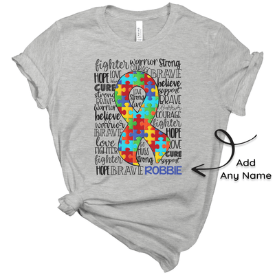 Custom Autism Awareness T-Shirt - Large Puzzle Piece Ribbon