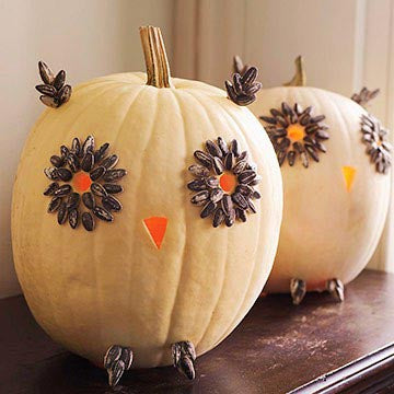 Pumpkin Characters Made From Seeds, Leaves or Pipe Cleaners